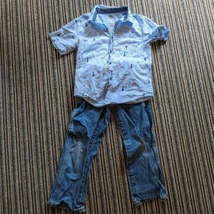 Wrangler Boy Size 6 Slim Jeans Won Nat Shirt 6/7